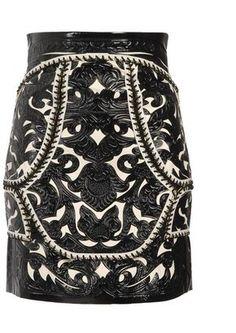 ShopStyle: BALMAIN Baroque leather panelled skirt