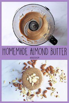 Simple Homemade Almond Butter - Not Just Soy Homemade Almond Butter, Almond Nut, Tray Bakes, My Recipes, Doughnut, Vegan Vegetarian, Food Processor Recipes, Roast, Baking