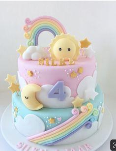 New Birthday Cake Rainbow Pastel 27 Ideas Baby Birthday Cakes, Rainbow Birthday Party, 4th Birthday, Birthday Cake Design, Girls 1st Birthday Cake, Birthday Ideas, Rainbow Wedding, Gateau Baby Shower, Baby Shower Cakes