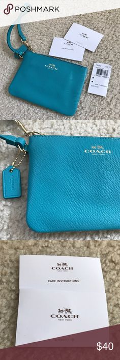 Coach Wristlet small coach wristlet in turquoise! BRAND NEW! NEVER USED! Tags are not attached but still have them inside the wristlet and will include with purchase.Leather. All reasonable offers are always considered! :) Coach Bags Clutches & Wristlets