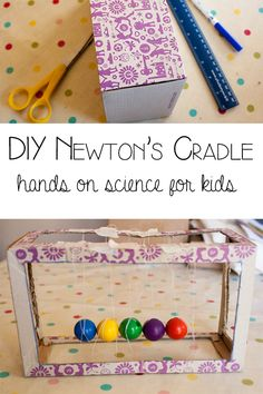 Awesome DIY Newton's Cradle from a shoe box and candy. #STEM #engineering #activity #handson #educational #DIY #maker Science Activities For Kids, Preschool Science, Middle School Science, Science Experiments Kids, Science Classroom, Science Fair, Science Lessons, Science Education, Science For Kids