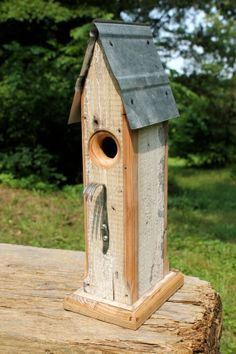 Rustic Birdhouse from Salvaged Materials with a by BlackbirdStew