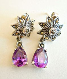 Earrings Sterling Silver Marcasite Amethyst by RenaissanceFair