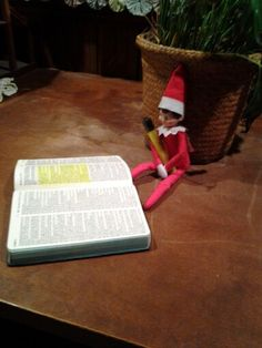 Our Elf, Zeus Tinsel, on his first night, highlighted Luke Chp 2 in the bible to remind us that Jesus is why we celebrate Christmas and that being on the nice list means we show God's love through our words and actions.