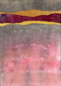 David Muddyman - Lake Horizon 2 (Collage of hand-painted washi paper mounted onto Bristol board 18 cm x 26 cm)