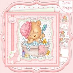 BATH TIME BABY GIRL 8x8 Decoupage & Insert Mini Kit
