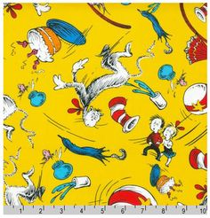 Cat in the Hat on yellow by Dr. Seuss Enterprises for Robert Kaufman Fabrics characters scattered quilters cotton novelty fabric remnant Dr. Seuss, Cotton Quilting Fabric, Minky Fabric, Dr Seuss Fabric, Horton Hears A Who, Yellow Cat, Novelty Fabric, Cat Hat, Fabric Remnants