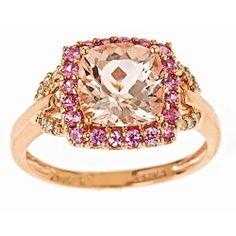 Dyach 10k Rose Gold Morganite, Sapphire and 1/10ct TDW Diamond Ring (I-J, I1-I2)