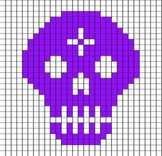 I was inspired by the Mexican folk art of Papel Picado . I made this last year with the intentions to make many more in several colors an. Filet Crochet Charts, C2c Crochet, Knitting Charts, Cross Stitch Skull, Beaded Cross Stitch, Cross Stitch Designs, Cross Stitch Patterns, Crochet Skull Patterns, Crochet Wedding