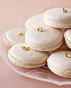 Vanilla Macarons with Edible Gold Leaf - would be great for New Year's too.