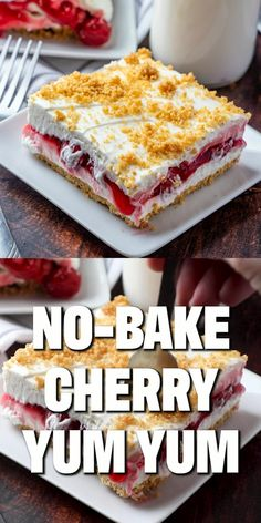 No-Bake Cherry Yum Yum is a layered dessert of sweetened graham cracker crumbs, cream cheese cherry pie filling and fresh whipped cream! food recipes videos NO-BAKE CHERRY YUM YUM Cherry Desserts, Brownie Desserts, Cherry Recipes, Easy Desserts, Recipes Of Desserts, Desserts With Cherries, Cherry Pie Filling Desserts, Cherry Delight Dessert, Non Bake Desserts