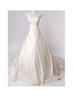Satin Strapless Neckline A-Line Wedding Dress with Cap Sleeves