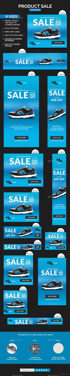 Product Sale Banners Design Template - Banners & Ads Web Template PSD. Download here: https://graphicriver.net/item/product-sale-banners/10515470?s_rank=13&ref=yinkira