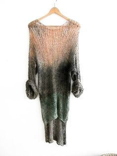 Handmade oversized womens clothing . This trendy & chunky knit long pullover perfect for lazy days and your unique street style. The sleeves are extra long. Its suitable for your grunge and daily style. Size medium Hand dyed