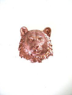 Small Faux Taxidermy Tiger Animal Head wall mount by mahzerandvee