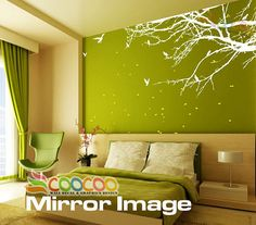 """Wall Decal, wall Stickers ,Tree Wall Decals ,Wall decals, Nursery wall decal, Removable: Small size Corner Top Branch 60""""W choice of 2 Colors $44.95"""