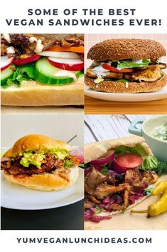 Here are the best vegan sandwich fillings whether you are looking for a hot sandwich or a packable no heat vegan lunch sandwich! Vegan Sandwich Filling, Vegan Sandwich Recipes, Sandwich Fillings, Best Vegan Recipes, Vegan Blogs, Vegetarian Recipes Easy, Vegetarian Sandwiches, Veggie Recipes, Whole Food Recipes