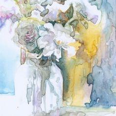 watercolor jar of flowers