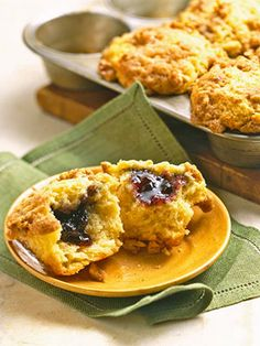Muffins and jelly go so well together so why not bake the jelly right in the muffins? This recipe uses blueberry preserves, but you can use any flavor jelly you wish.