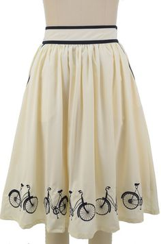 Rockabilly bicycle embroidered full midi skirt - ivory & navy