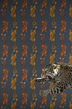 Fantastic wallpaper pattern by Emma J Shipley for Clarke & Clarke featuring repeated motifs of a striking tiger, with a peacock tail and clockwork detailing Fantastic Wallpapers, Peacock Tail, Unique Wallpaper, Animal Wallpaper, Fantasy Creatures, Designer Wallpaper, Pattern Wallpaper, True Colors, Trends