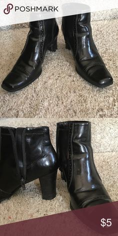 Dark Bronze zip ankle boots with small heel Pre-loved. Price reflects Shoes Ankle Boots & Booties