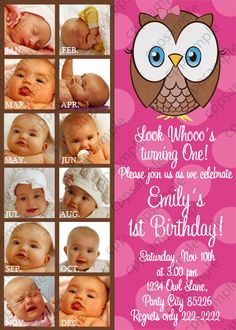 Love the month by month picture idea!!!  Look Whoos Turning One Invitation, Owl look whoos Invitation - 1st Birthday - Girl Owl Invitation - 12 months photo pictures - Digital File on Etsy, $14.50