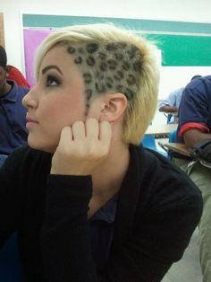 Cheetah Print Hair color, if i had the guts to do this. i might have one time but, these days i don; Cheetah Print Hair, Leopard Hair, Undercut Hairstyles, Cool Hairstyles, Gorgeous Hairstyles, Extreme Hair, Hair Tattoos, Wild Hair, Hair Images