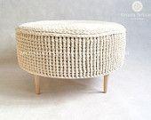 Crochet pouf, crochet footstool, round pouf, knitted pouf, knitted footstool, pouf, footstool, table model PARIS 75cm / 29,5inch