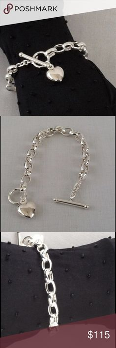 "NWOT 8"" Sterling Toggle with Heart Charm Bracelet 8mm Links with Hollow Heart Charm in Sterling Silver. Jewelry Bracelets"