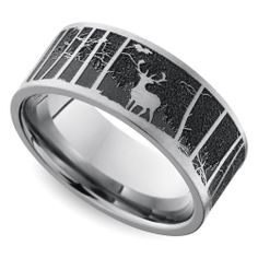 this domed mens wedding band features a serene pine forest pattern laser carved into cobalt for a unique look mens wedding rings pinterest cobalt