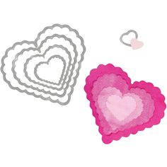 """Sizzix Framelits"""" Dies, 5-pk. Scallop Hearts ($22) ❤ liked on Polyvore featuring home, home decor, heart home decor and sizzix"""