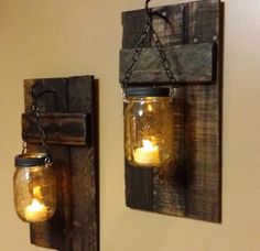 Rustic Wood Candle Holder, Rustic  Decor,   sconces, Mason Jar Decor, Mason Jar hanging candles,    Sold Separately priced 1 each by TeesTransformations on Etsy https://www.etsy.com/listing/235912759/rustic-wood-candle-holder-rustic-decor