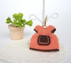 Miniature doll clothes Miniature knitting dress for 2.7 inch