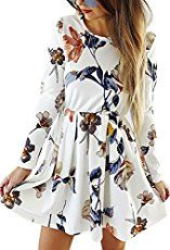 Angashion Womens Dresses Casual Floral Print Long Sleeve Swing Pleated Skater A Line Mini Dress,White,Medium - Simple Shopping Lifestyles