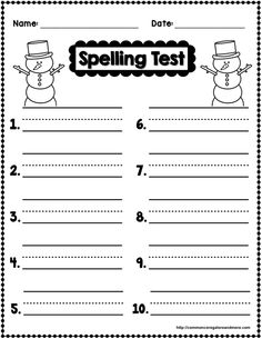 Spelling Test Freebies  December Edition  Teaching