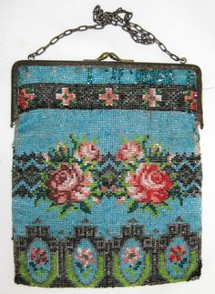 1920's Beaded Purse - Turquoise Blue with Roses