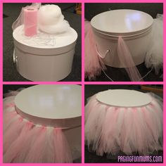 DIY Tulle Cake Stand or could be used for a reg table for the party where the girls sit.