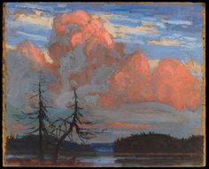 Tom Thomson, Sunset, Algonquin Park, 1916 - Art Gallery of Ontario Group Of Seven Artists, Group Of Seven Paintings, Paintings I Love, Emily Carr, Canadian Painters, Canadian Artists, Landscape Art, Landscape Paintings, Impressionist Paintings