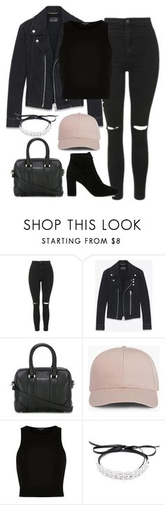 """Başlıksız #1374"" by zeynep-yagmur ❤ liked on Polyvore featuring Topshop, Yves Saint Laurent, Givenchy, River Island and Fallon"