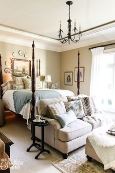 Romantic master bedroom decked for Christmas with neutral decor for an unexpected look! Romantic Master Bedroom, Bedding Master Bedroom, Beautiful Bedrooms, Home Decor Bedroom, Romantic Bedrooms, Bedroom Ideas, Bedroom Neutral, Bedroom Wallpaper, Bedroom Black