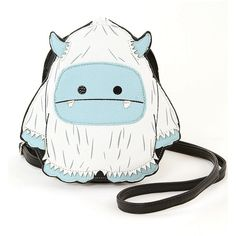 Sleepyville Critters White Yeti Monster Crossbody Bag ($20) ❤ liked on Polyvore featuring bags, handbags, shoulder bags, crossbody shoulder bags, animal print shoulder bag, cross-body handbag, white cross body purse and white crossbody
