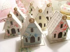 Vintage Wallpaper Glitter Houses AND!! a great use for left over scrapbook papers