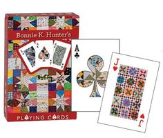 Too cool! Bonnie Hunter quilt-themed playing cards. Bonnie's Wonky Wishes Star Quilt graces all card backs, and the fronts feature detail photography.