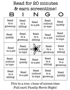 Use this free printable for reading bingo so your kids can earn screen time! AD…