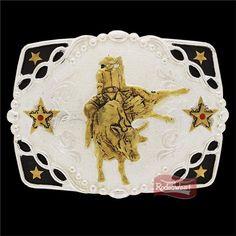 Fivela Master Montaria em Touro c/ Banho Dourado / Prata 14480: Mulheres