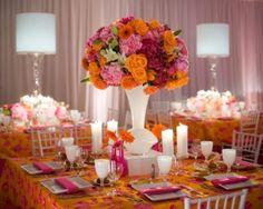 Looking for ideas for centerpiece :  wedding bright centerpiece orange pink Pink Ordange Bat Mitzvah Centerpiece