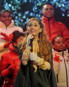 Ariana Grande performs at the 81st Annual Rockefeller Center Christmas Tree Lighting Ceremony in New York City on December 4, 2013.