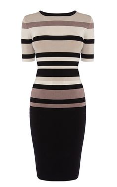 Graphic Stripe Knit Dress | Karen Millen (KX053)
