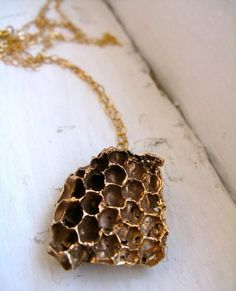 Gold Honeycomb Long Necklace by Redbud Jewelry